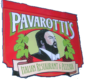 Pavarotti's Italian Restaurant and Pizzeria | swing sign